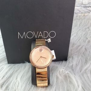 New Movado Edge Rose Gold PVD Ladies Watch